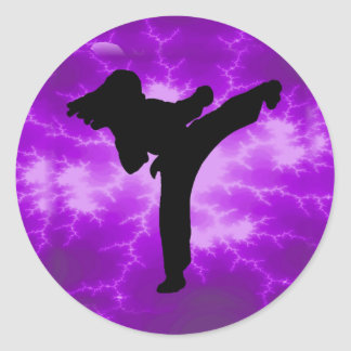 Martial Arts Purple Lightning Girl Classic Round Sticker