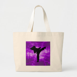 Martial Arts Purple Lightning Girl Large Tote Bag