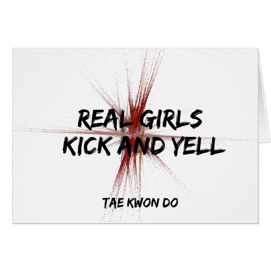 Martial Arts Real Girls Kick and Yell Card