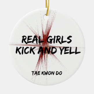 Martial Arts Real Girls Kick Round Ornament