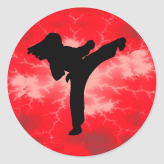 Martial Arts Red Lightning woman Classic Round Sticker