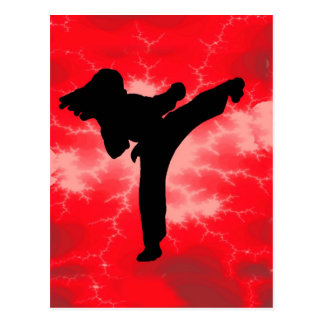 Martial Arts Red Lightning woman Postcard