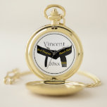 "Martial Arts Second Degree Black Belt Pocket Watch<br><div class=""desc"">Personalize the Martial Arts Second Degree Black Belt Pocket Watch the with name of your athlete and year to create a one of a kind keepsake gift for a 2nd degree black belt rank promotion test or exam. Suitable for martial artists who practice karate, taekwondo, kung fu, judo or ju...</div>"