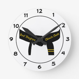 Martial Arts Second Degree Black Belt Round Clock