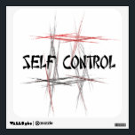 """Martial Arts Self Control Wall Decal<br><div class=""""desc"""">An important tenet or virtue to a martial artist is self control - controlling your body, words and mind. The Martial Arts Self Control Wall Sticker features an abstract black, red and gray fractal art design background and an Asian style font. It make a unique martial arts gift for a...</div>"""