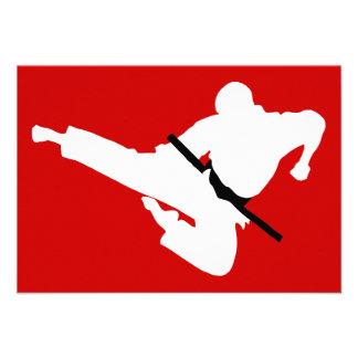 martial arts silhouette custom invitations