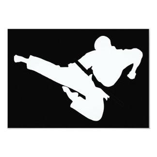 martial arts silhouette 3.5x5 paper invitation card