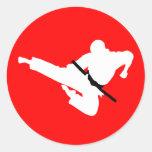martial arts silhouettes classic round sticker