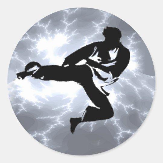 Martial Arts Silver Lightning man Classic Round Sticker