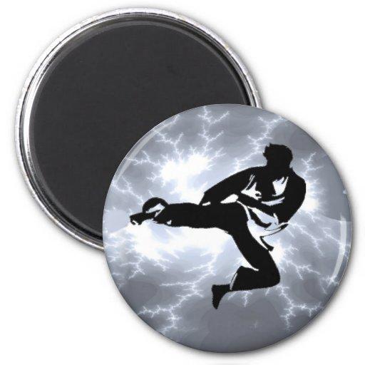 Martial Arts Silver Lightning man 2 Inch Round Magnet