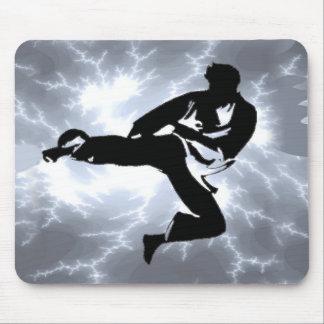 Martial Arts Silver Lightning man Mouse Pad
