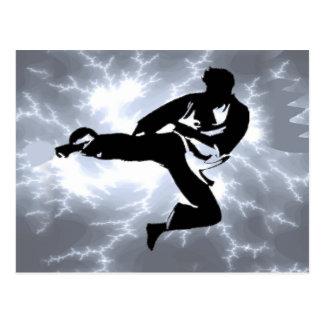 Martial Arts Silver Lightning man Postcard