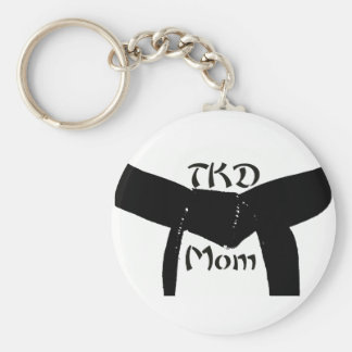 Martial Arts TKD Black Belt Mom Keychain