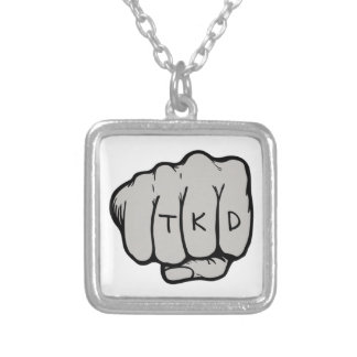 Martial Arts TKD Fist Silver Plated Necklace