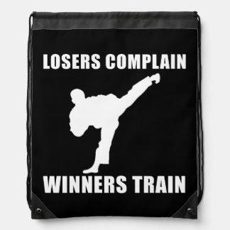Martial Arts Winners Train Drawstring Backpack