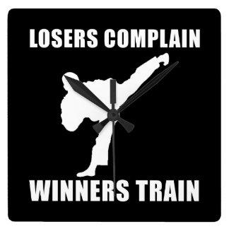 Martial Arts Winners Train Square Wall Clock