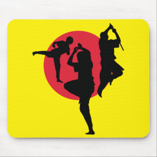 Martial arts with red circle and yellow background mouse pad