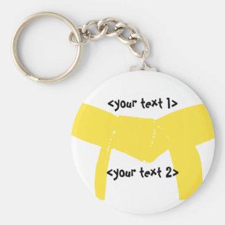 Martial Arts Yellow Belt Basic Round Button Keychain