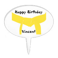 Martial Arts Yellow Belt Birthday Cake Topper