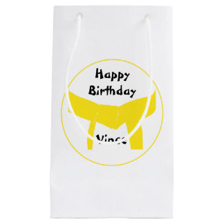 Martial Arts Yellow Belt Happy Birthday Small Gift Bag