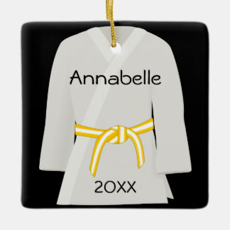 Martial Arts Yellow White Belt Ornament