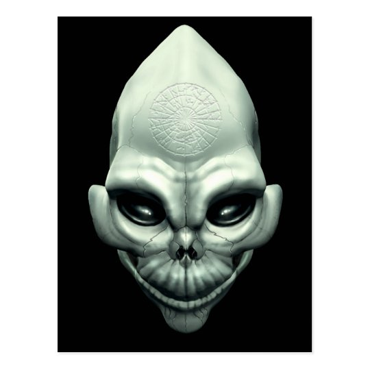 Martian Alien Extraterrestrial Outer Space Skull Postcard