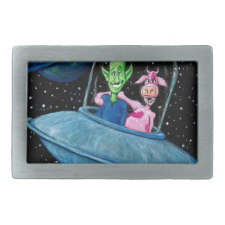Martian and Cow on a Flying Saucer Belt Buckle