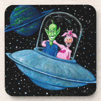 Martian and Cow on a Flying Saucer Beverage Coaster