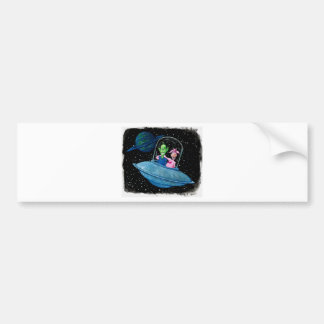 Martian and Cow on a Flying Saucer Bumper Sticker