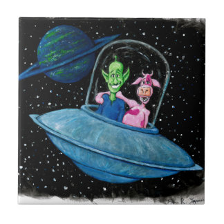 Martian and Cow on a Flying Saucer Ceramic Tile