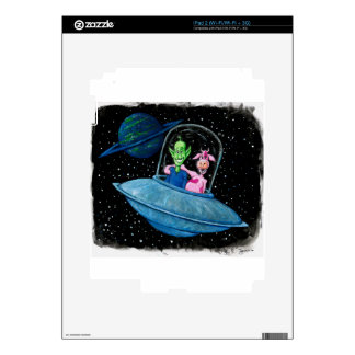 Martian and Cow on a Flying Saucer Decals For iPad 2