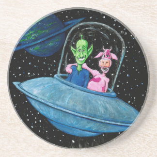 Martian and Cow on a Flying Saucer Drink Coaster