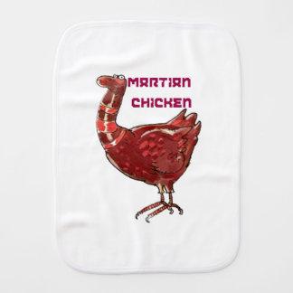 martian chicken cartoon style funny illustration baby burp cloth