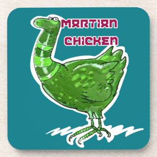 martian chicken cartoon style funny illustration drink coaster
