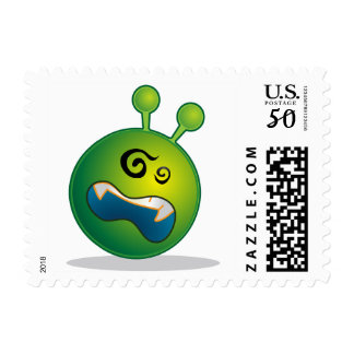 Martian Green Alien Emoticon Confused Face Stamp