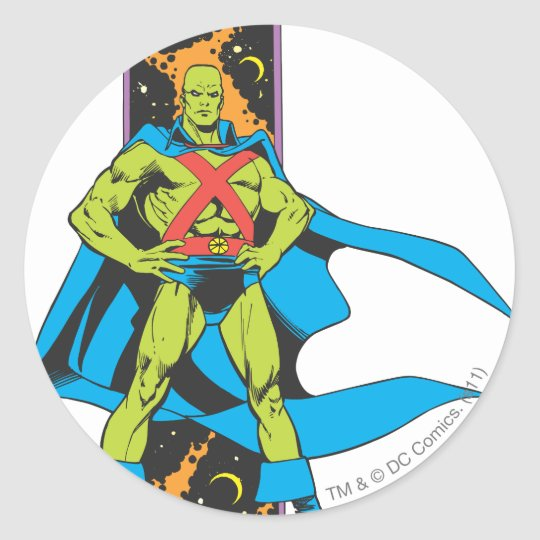 Martian Manhunter & Space Backdrop Classic Round Sticker