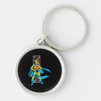 Martian Manhunter & Space Backdrop Silver-Colored Round Keychain