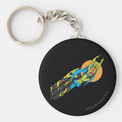 Martian Manhunter Takes Flight Basic Round Button Keychain