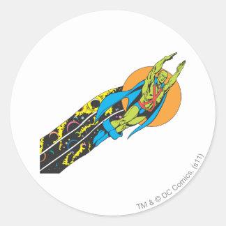 Martian Manhunter Takes Flight Round Stickers