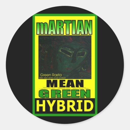 MARTIAN MEAN GREEN HYBRID ROUND STICKERS