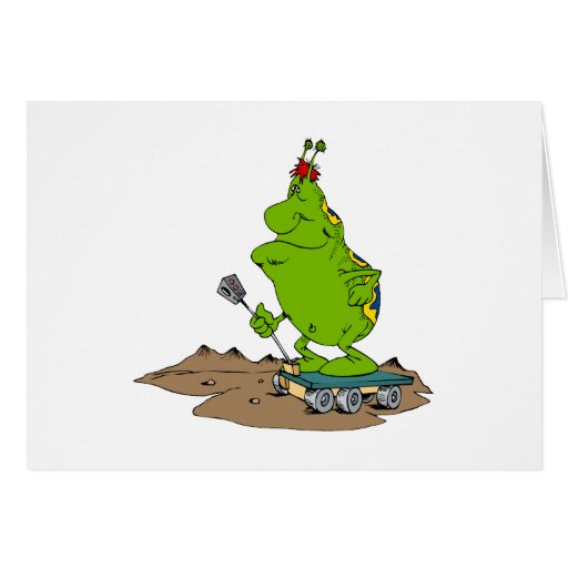 Martian riding rover stationery note card