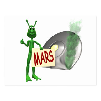 Martian Trying to Hitch a Ride Home to Mars Postcard