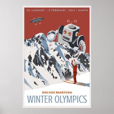 Christmas Themed Martian Winter Olympics Poster