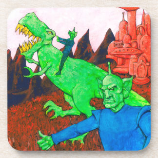 Martians and T-Rex Drink Coaster