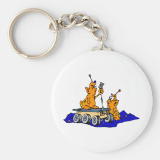 Martians Inspecting Rover Basic Round Button Keychain