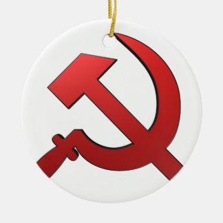 Martille y stickle adorno navideño redondo de cerámica