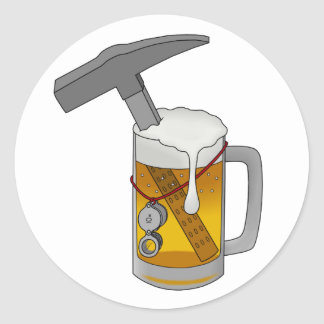 Martillo de la cerveza pegatina redonda