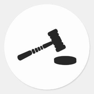 Martillo del juez pegatinas redondas