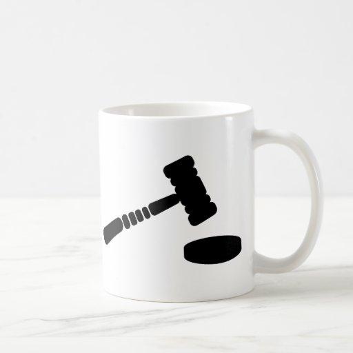 Martillo del juez taza básica blanca