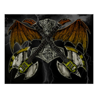 Martillo del Thor de las guitarras de dioses Poster